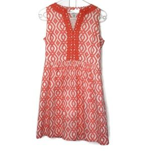 VINEYARD VINE'S fit and flare dress 8 coral white